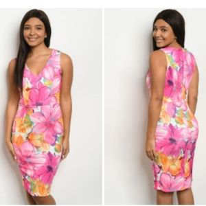 New Ovi Tropical Floral Body Con Dress